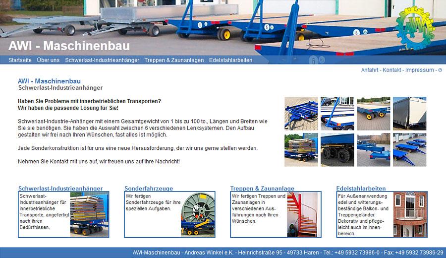 Webseite AWI Maschinenbau