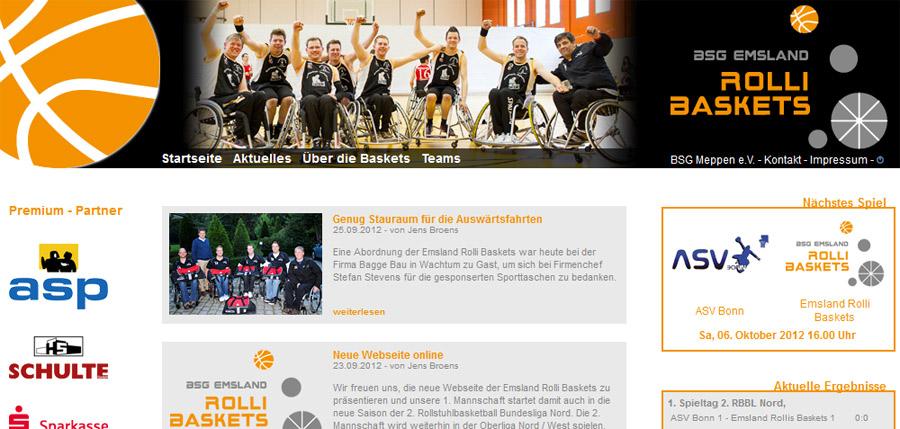 Neue Webseite für die Emsland Rolli Baskets